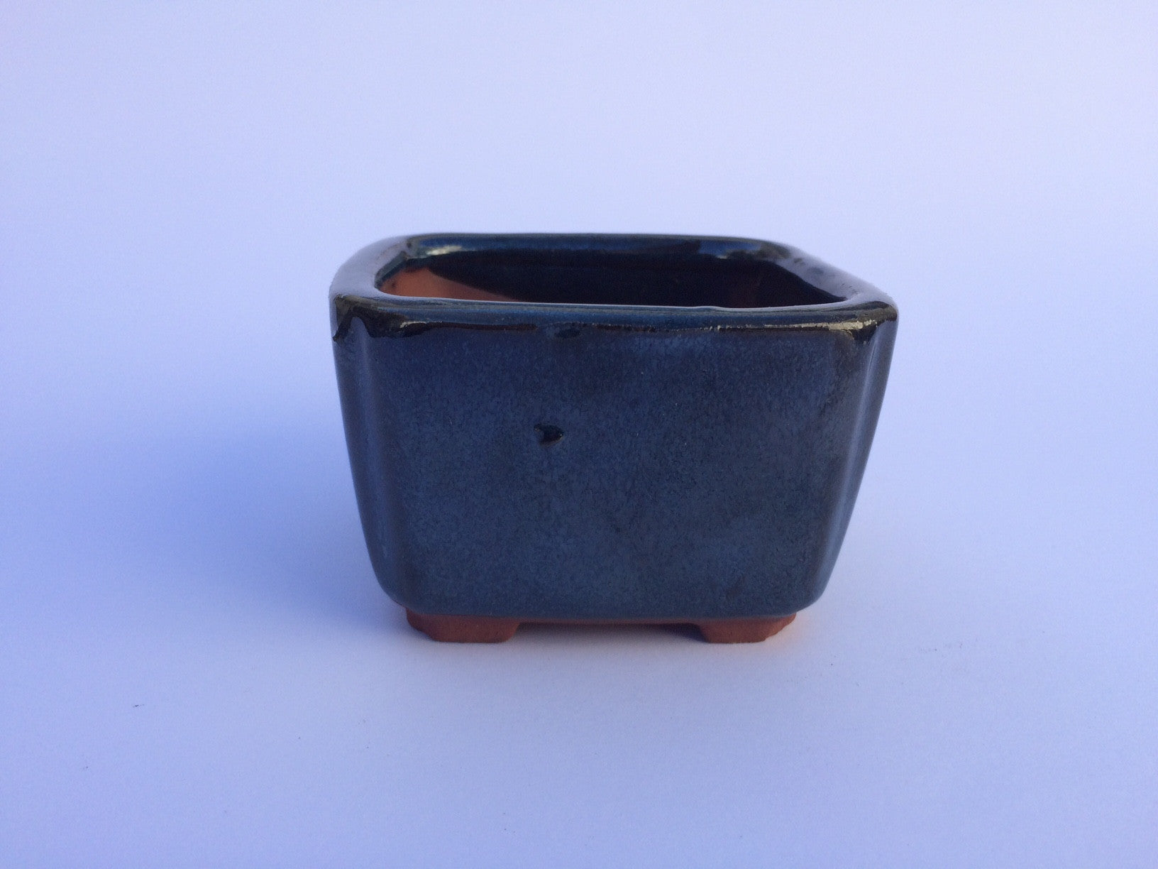 8.5cm x 8.5cm x 5.5cm Glazed Bonsai Container - Dark Aqua Green