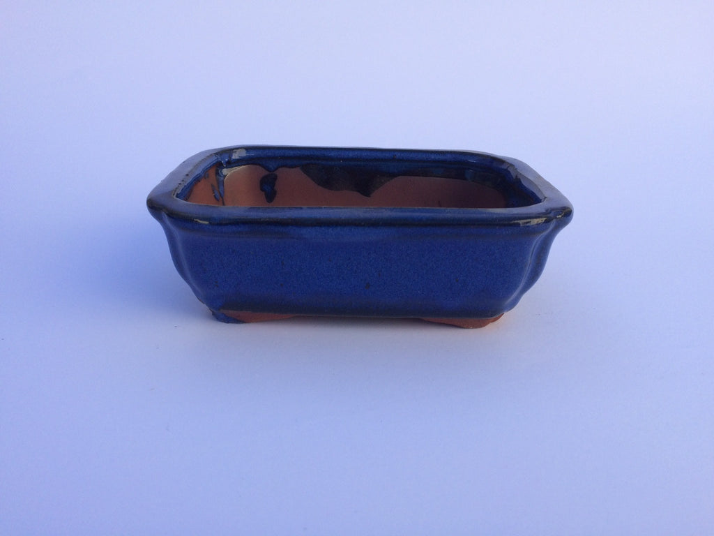 13cm x 10cm x 5cm Glazed Bonsai Container - Dark Blue