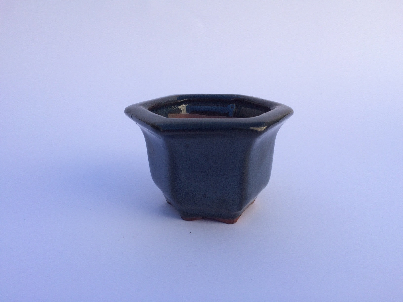 7cm x 7cm x 5cm Glazed Bonsai Container - Dark Aqua