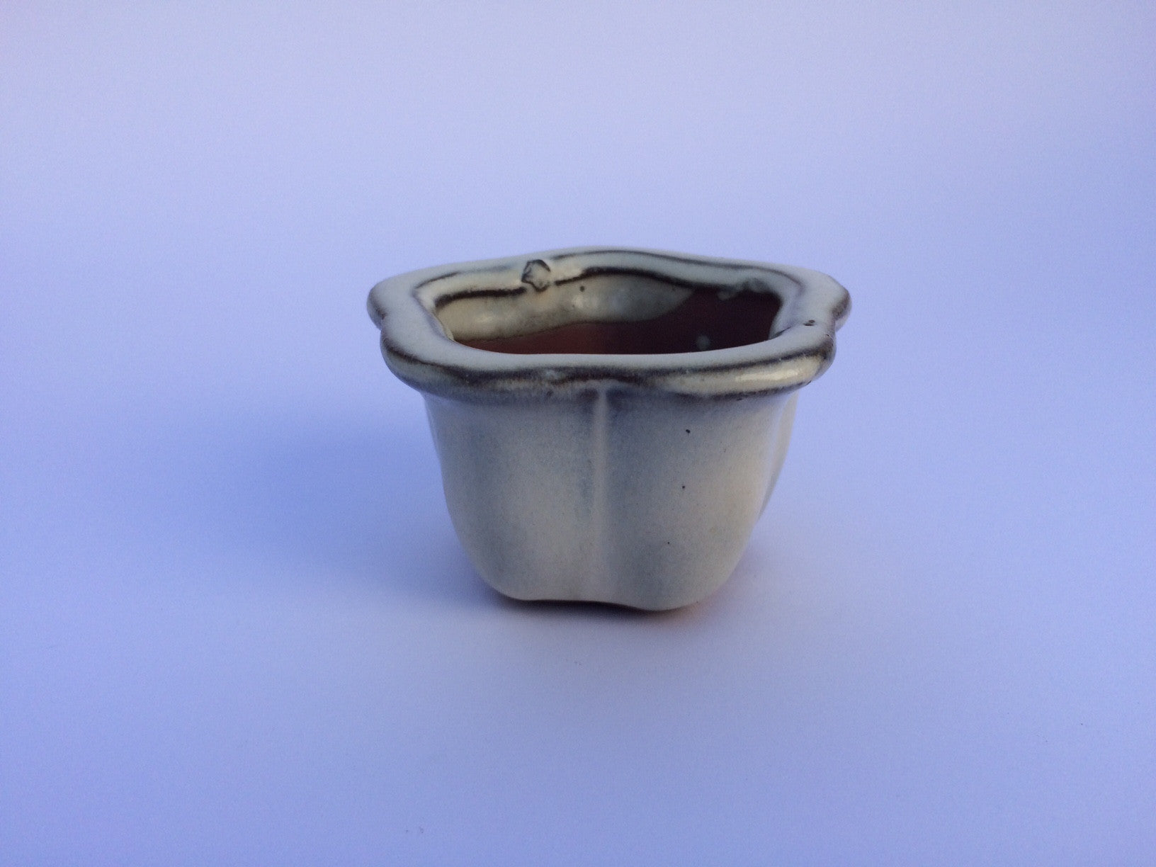 7cm x 7cm x 5cm Glazed Bonsai Container - Cream