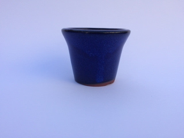 8cm x 8cm x 6cm Glazed Bonsai Container - Dark Blue