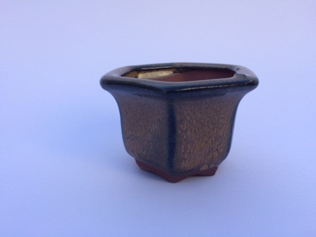 7cm x 7cm x 5cm Glazed Bonsai Container - Mustard