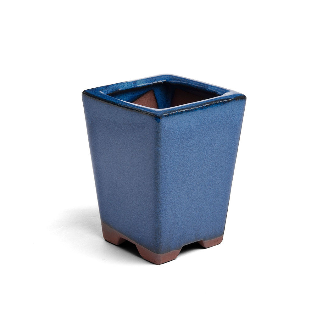 7.5cm x 7.5cm x 10cm Glazed Cacscade Bonsai Container - Dark Blue