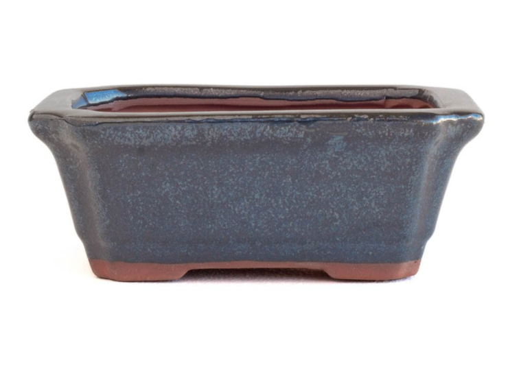 16cm x 12cm x 6cm Glazed Bonsai Container - Dark Aqua Green