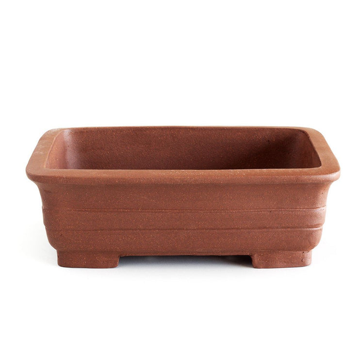 Unglazed 25cm x 19cm x 8cm Banded Rectangular Bonsai Container / Pot