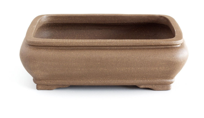 Unglazed 20cm x 16cm x 6cm Soft Rectangular with Convex Sides Bonsai Container / Pot