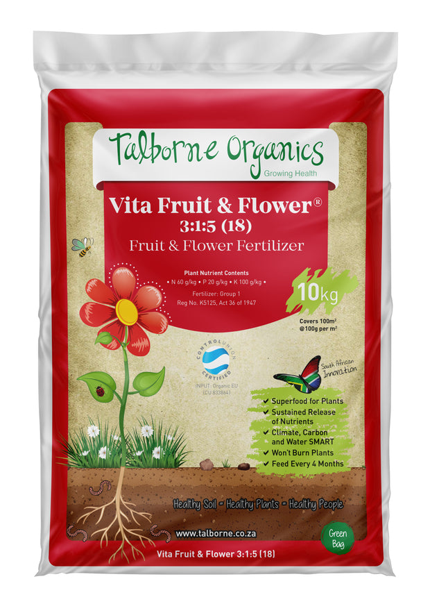 Talborne Organics - Vita Fruit & Flower 3:1:5 (18) Flowering, Fruit & Container Organic Fertilizer