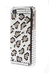 iPhone 4/4S Bejeweled Leopard Silver Spots White