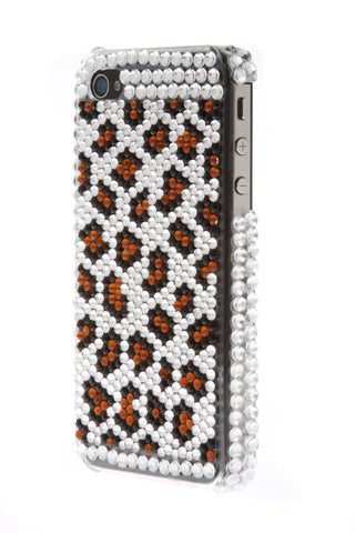 iPhone 4/4S Bejeweled Leopard Brown Spots White
