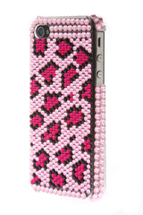 iPhone 4/4S Bejeweled Leopard Hot Pink Spots Light Pink