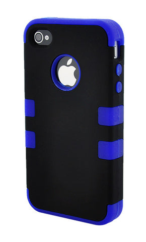 iPhone 4/4S Heavy Duty Front/Back Dark Blue Stripe