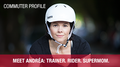 Commuter profile of Andrea French with garment bag and bicycle rain gear