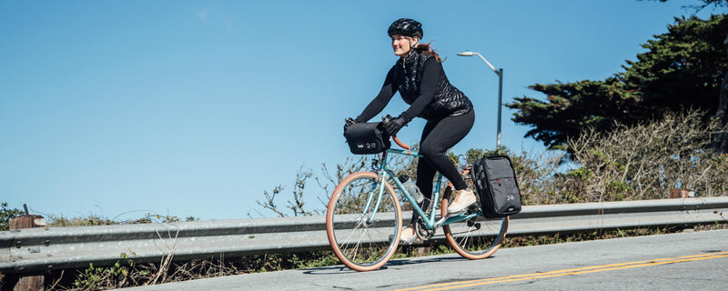Two Wheel Gear - Pannier Backpack Convertible and Mini Messenger Handlebar Bag - Graphite and Black - Woman Bike Commuting