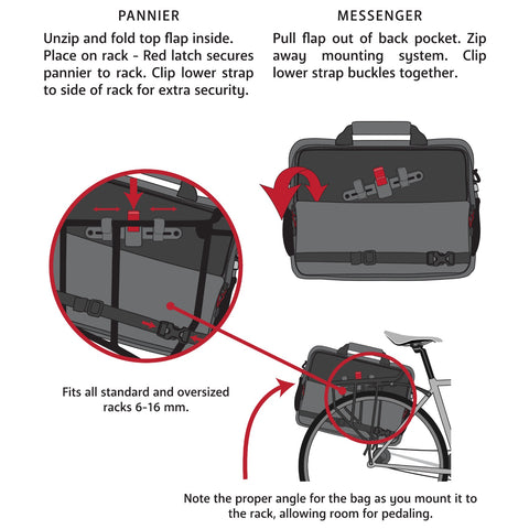 Two Wheel Gear - Pannier Laptop Messenger - Instructions