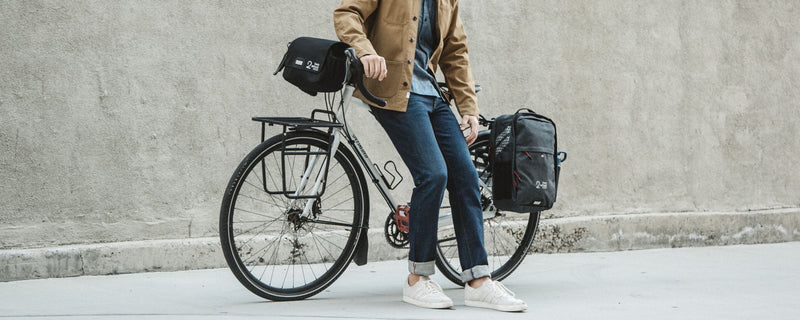 Two Wheel Gear - Bike Commuter with Pannier Backpack and Mini Messenger Handlebar Bag