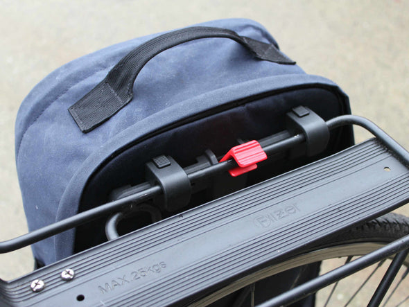 Two Wheel Gear - Pannier Backpack Convertible - Mounting - Kompakt Rail - Graphite Grey, Military Waxed Canvas Overcast Blue