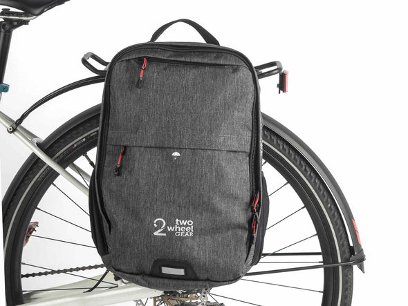 Two Wheel Gear - Pannier Backpack Convertible - Bike Bag - Graphite Grey - Mounted on Bike (2452862926908)