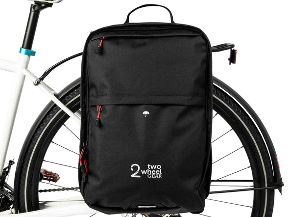 Black - Two Wheel Gear - Bags - Pannier Backpack Convertible PLUS+ - On Bike