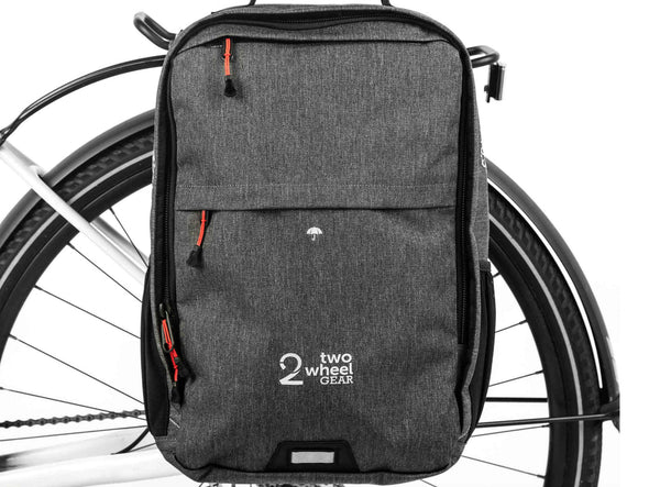 Graphite - Two Wheel Gear - Bags - Pannier Backpack Convertible PLUS+ - On Bike
