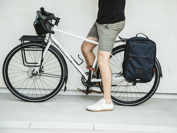 Two Wheel Gear - Pannier Backpack Convertible - Bag on Bike Commuter - Military Waxed Canvas Overcast Blue - On Bike Commuter (2351626256444)
