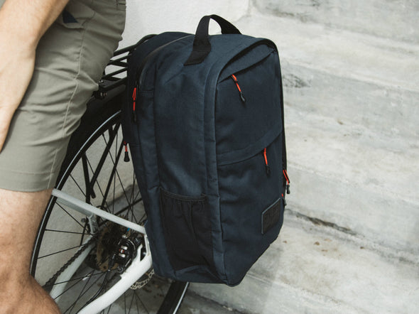 Two Wheel Gear - Pannier Backpack Convertible - Bag on Bike Commuter - Military Waxed Canvas Overcast Blue - On Bike