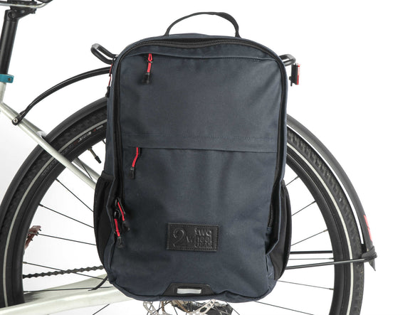 Two Wheel Gear - Pannier Backpack PLUS+ - Military Waxed Canvas Overcast Blue - Mounted On Bike (2351626256444)