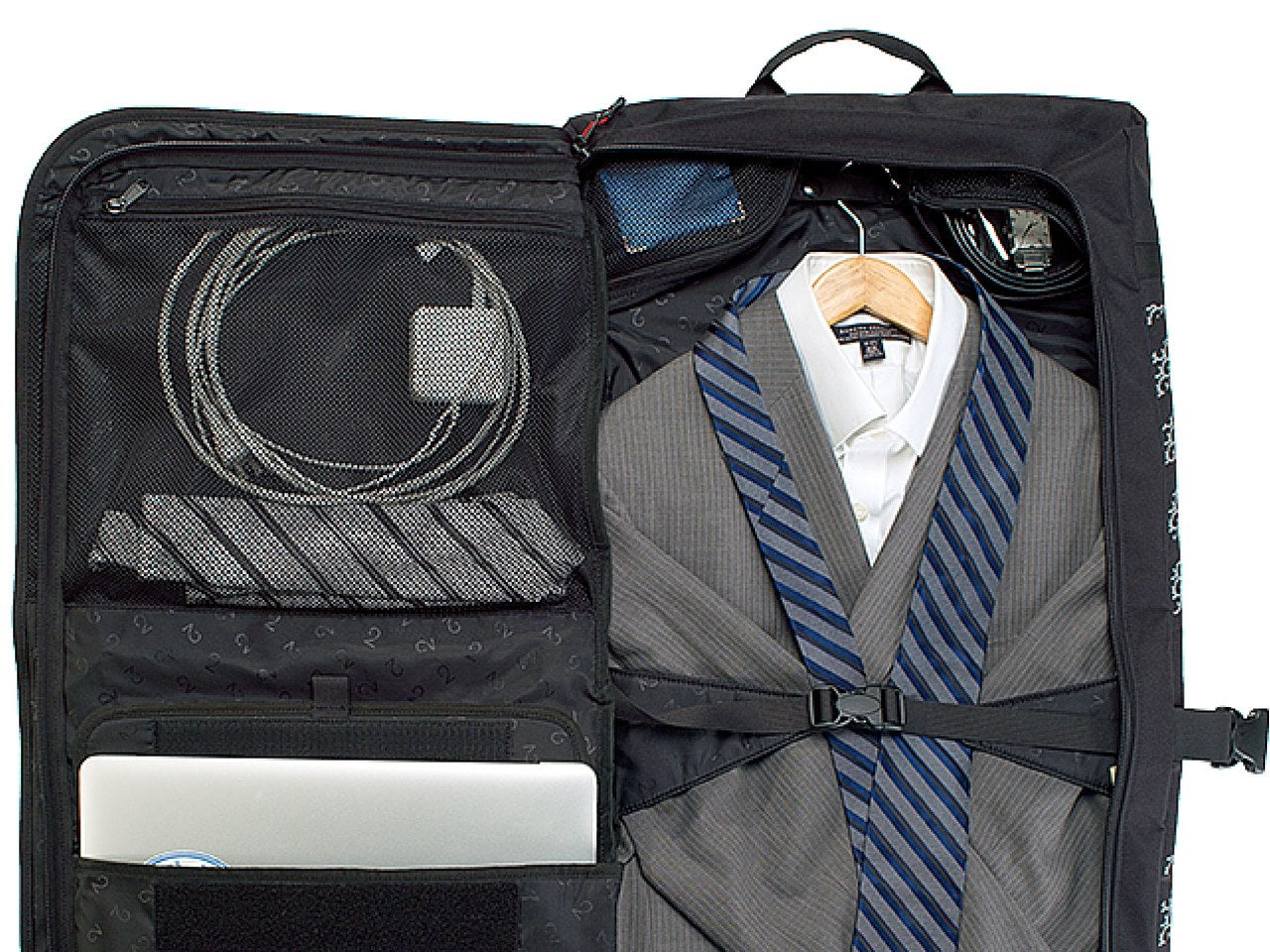 Classic 2.0 Garment Pannier - Black Suit Bag Open Showing Suit Packed - Two Wheel Gear
