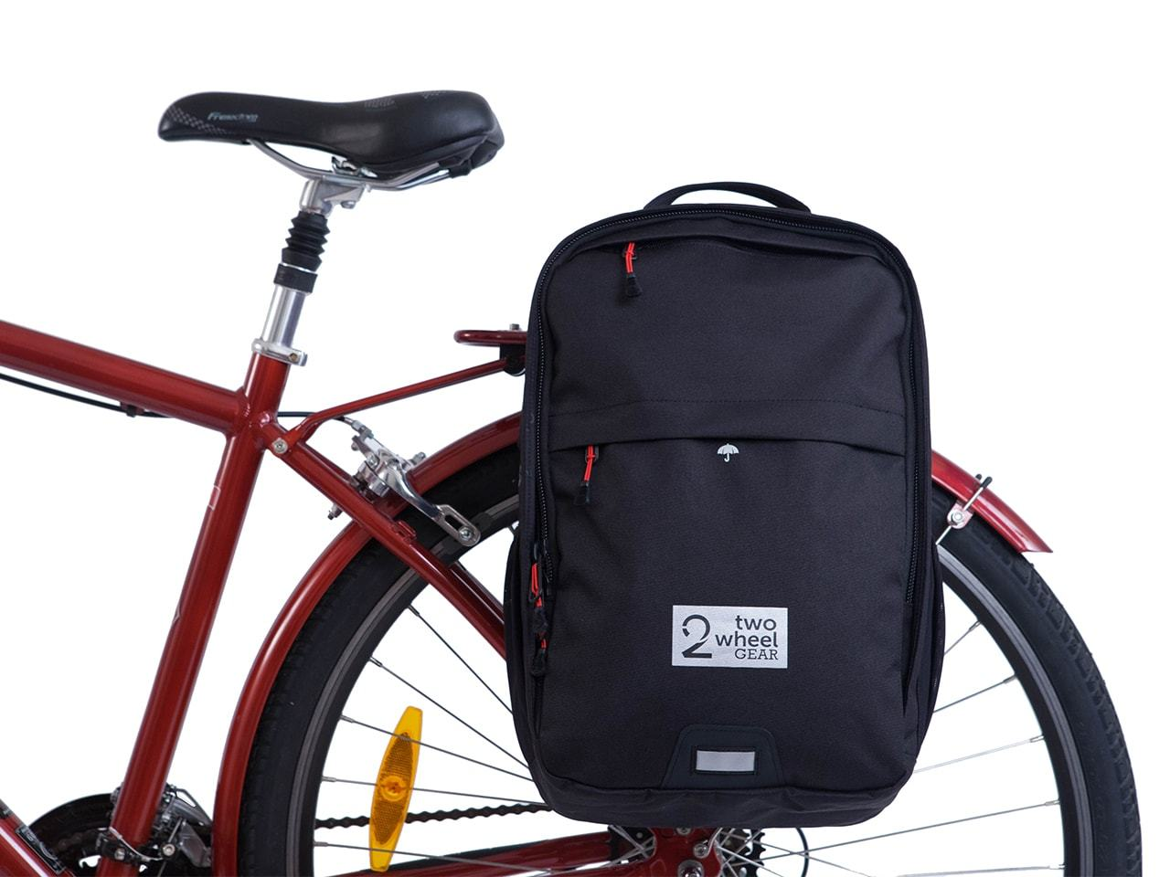 Pannier Backpack Convertible - Black - Bags - Two Wheel Gear - On Bike - Main