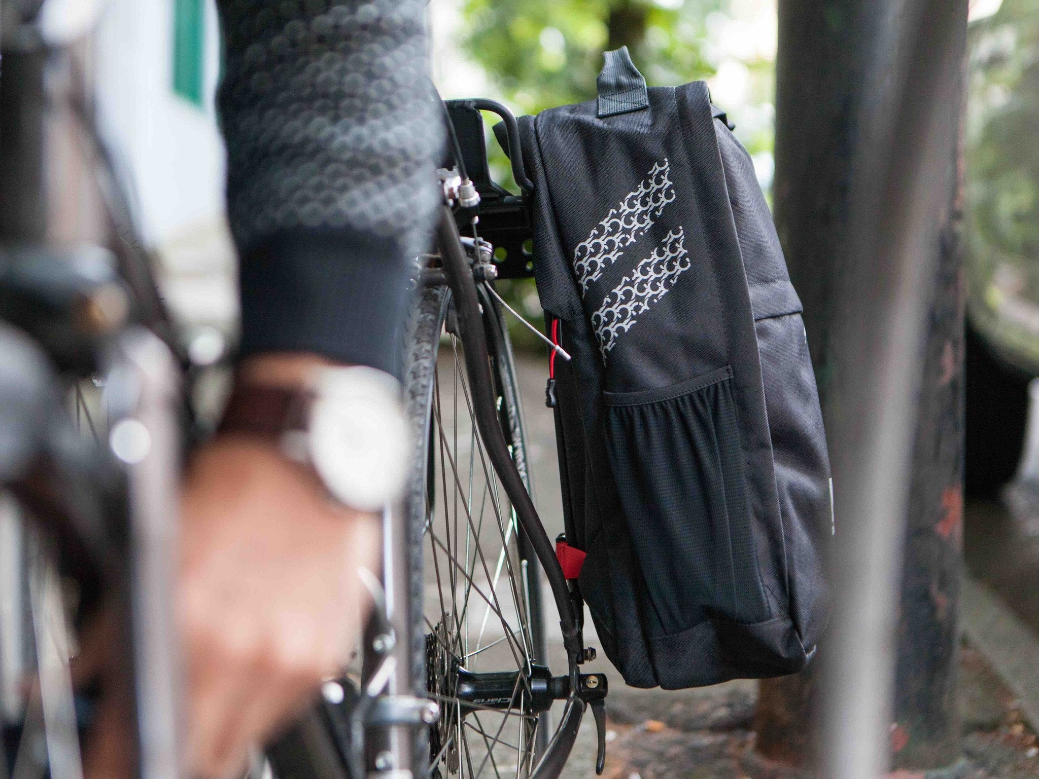 Black Pannier Backpack Convertible on street - Bags - Two Wheel Gear
