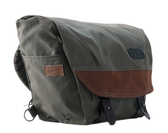 The Heath Waxed Canvas Messenger Bag - Olive , Bags - Two Wheel Gear, Two Wheel Gear - 3 (335393761)