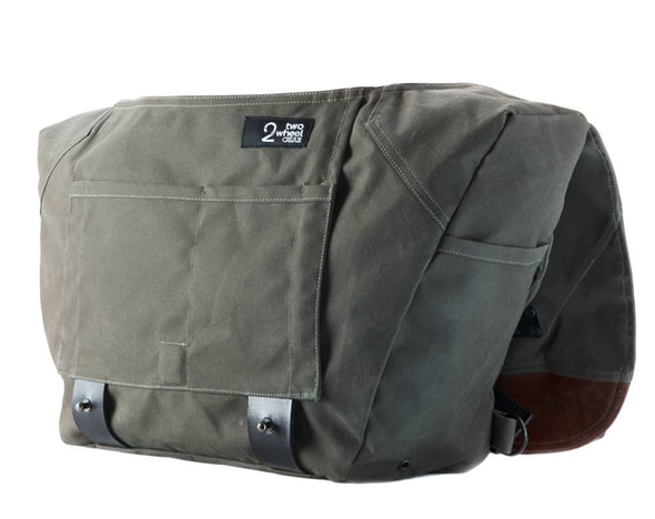 The Heath Waxed Canvas Messenger Bag - Olive , Bags - Two Wheel Gear, Two Wheel Gear - 4 (335393761)