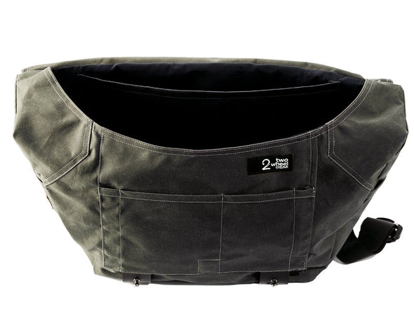 The Heath Waxed Canvas Messenger Bag - Olive , Bags - Two Wheel Gear, Two Wheel Gear - 5 (335393761)