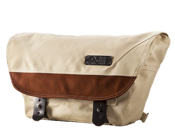 The Heath Waxed Canvas Messenger Bag - Stone White , Bags - Two Wheel Gear, Two Wheel Gear - 1