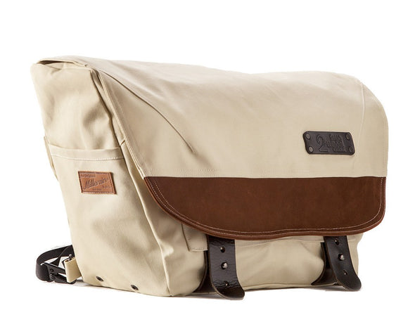 The Heath Waxed Canvas Messenger Bag - Stone White , Bags - Two Wheel Gear, Two Wheel Gear - 4