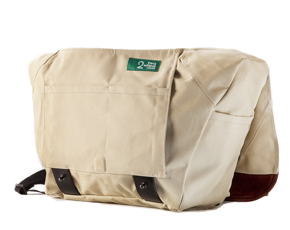 The Heath Waxed Canvas Messenger Bag - Stone White , Bags - Two Wheel Gear, Two Wheel Gear - 6