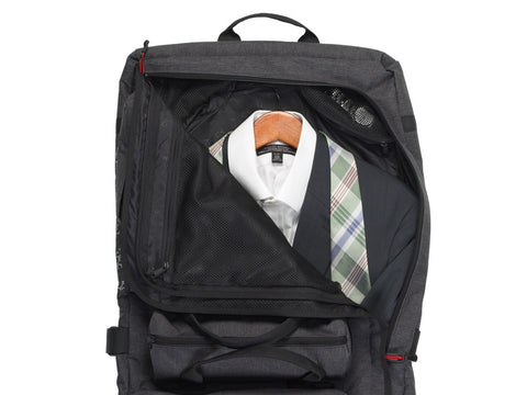 Bike Suit Bag open showing tie in Graphite Grey - Two Wheel Gear
