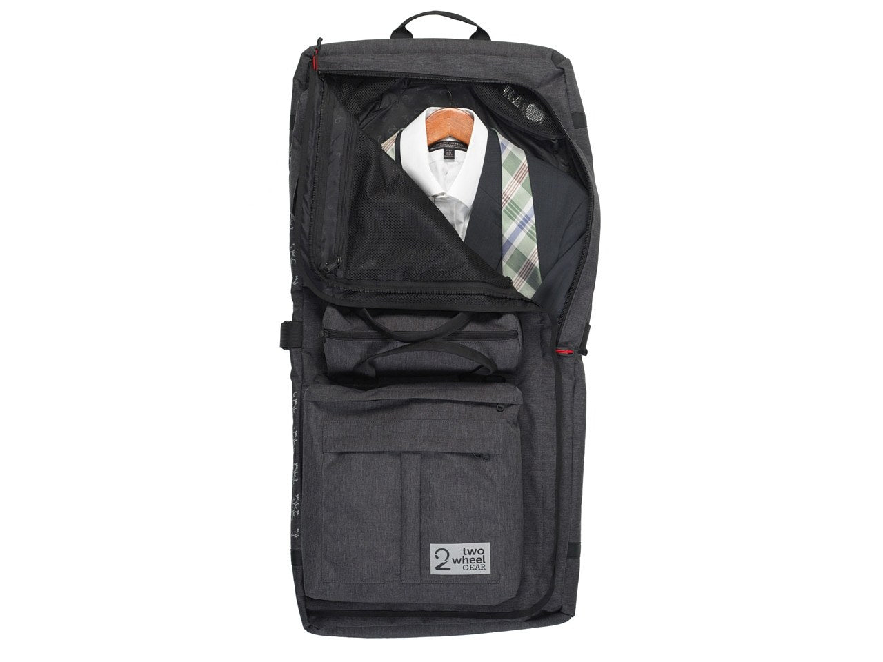 Travel Garment Bag hanging open showing suit - Two Wheel Gear