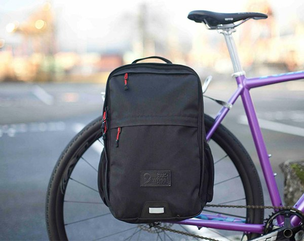 Pannier Backpack Convertible - Bike Commuter Bag - Black Waxed Canvas - Two Wheel Gear - Docks
