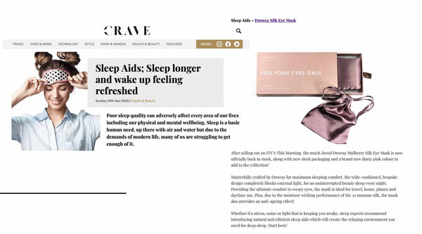 Collection of screen shots from article featuring Drowsy Sleep Co on the Crave website.