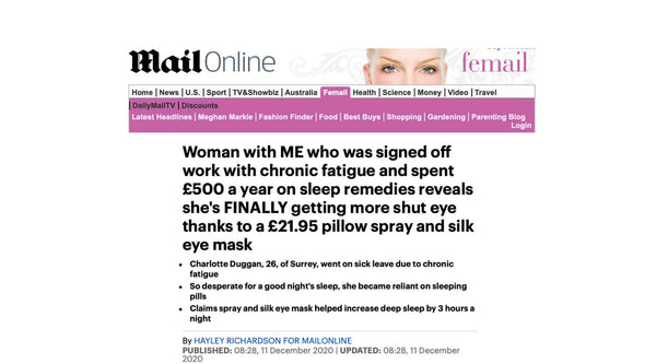 Screen shot from article featuring Drowsy Sleep Co on the Mail Online website.