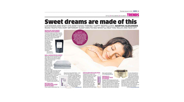 Screen shot from article featuring Drowsy Sleep Co in the Metro newspaper..