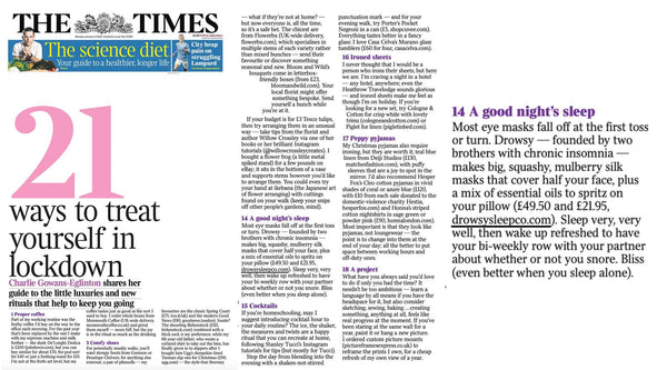 Collection of screen shots from article featuring Drowsy Sleep Co in The Times newspaper