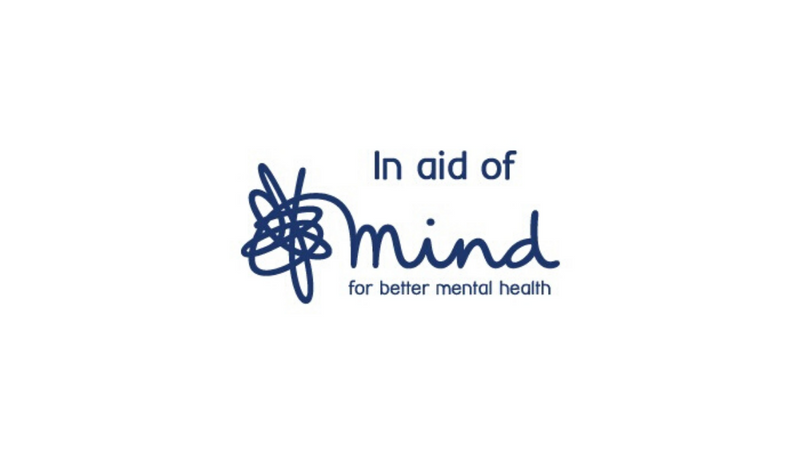 Blue logo for mind the mental health charity on white background.