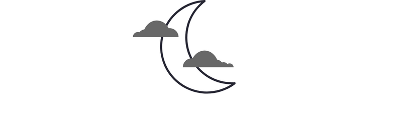 outline of moon icon on white background.