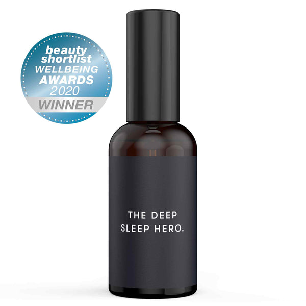 Drowsy Sleep Co. Sleep SOS pillow spray in amber bottle with blue label on white background. Award badge on left hand side.