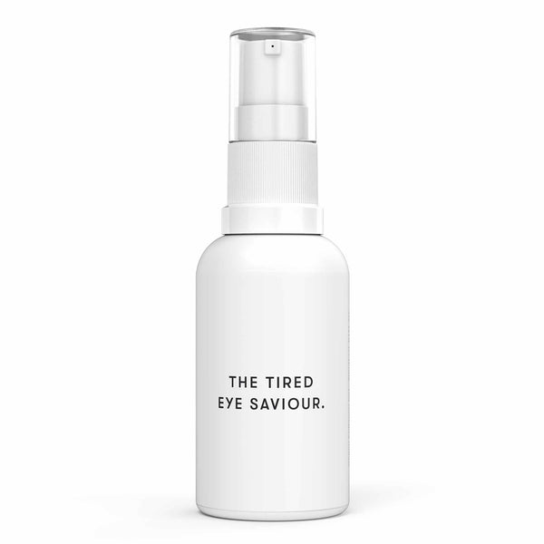 White bottle of Drowsy Tired Eye Saviour Vegan Collagen Gel on white background.