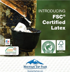 Rubber tree with FSC, Okeo-Tex, and Rainforest certification seals.