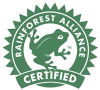 Logo for the Rainforest Alliance Certified seal featuring a frog