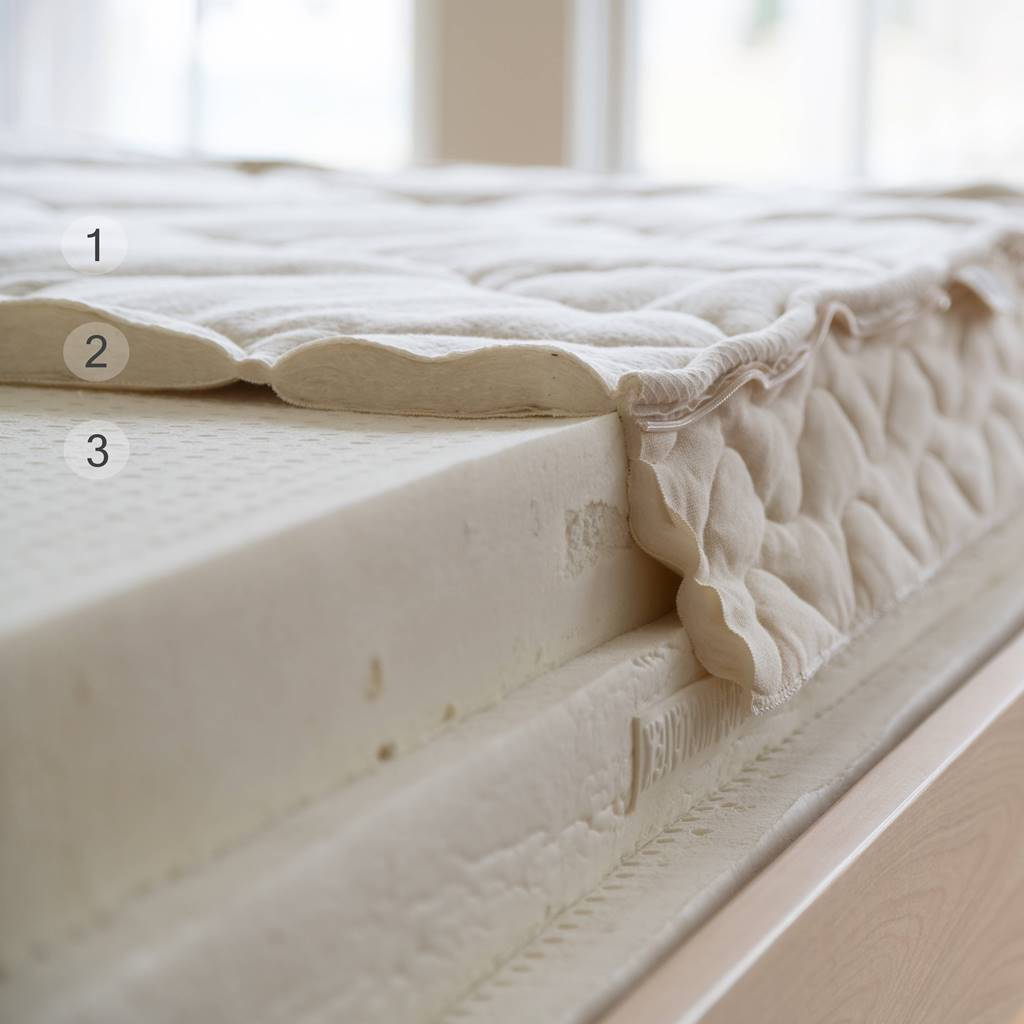 Spindle mattress cut open to show organic cotton fabric, organic wool batting, and then nine-inches of organic latex