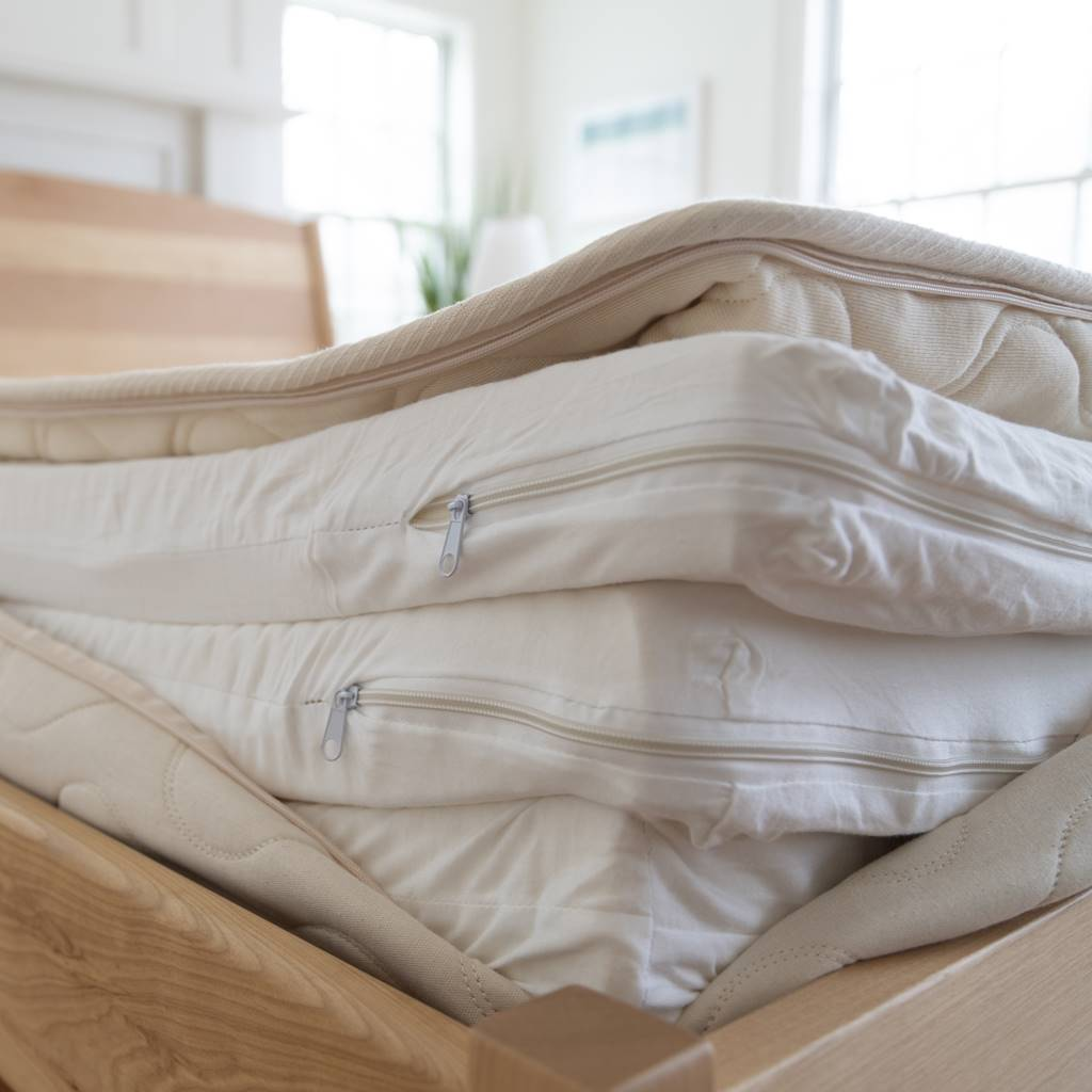 inside of the mattress showing the organic latex zipped inside of an organic cotton cover